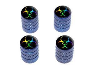 Zombie Outbreak Biohazard Rainbow - Tire Valve Stem Caps - Blue