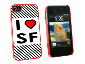I Love Heart SF - San Francisco - Snap On Hard Protective Case for Apple iPhone 4 4S - Red