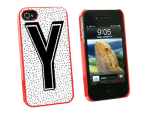 Letter Y Initial Sprinkles Black White - Snap On Hard Protective Case for Apple iPhone 4 4S - Red