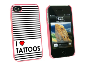 I Love Heart Tattoos - Snap On Hard Protective Case for Apple iPhone 4 4S - Pink