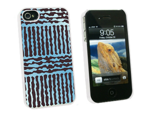 Urban Sketchy Blue Gray - Snap On Hard Protective Case for Apple iPhone 4 4S - White