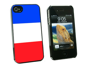 France Flag - Snap On Hard Protective Case for Apple iPhone 4 4S - Black
