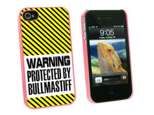 Warning Protected By Bullmastiff - Snap On Hard Protective Case for Apple iPhone 4 4S - Pink