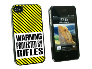 Warning Protected By Rifles - Snap On Hard Protective Case for Apple iPhone 4 4S - Black