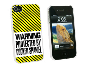Warning Protected By Cocker Spaniel - Snap On Hard Protective Case for Apple iPhone 4 4S - White