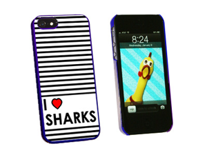 I Love Heart Sharks - Snap On Hard Protective Case for Apple iPhone 5 - Blue