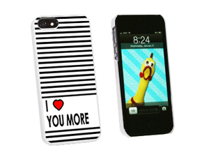 I Love You More Stripes - Snap On Hard Protective Case for Apple iPhone 5 - White