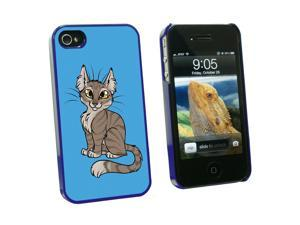Tabby Cat Brown On Blue - Pet - Snap On Hard Protective Case for Apple iPhone 4 4S - Blue