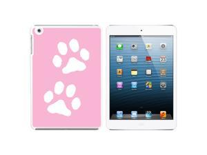 Paw Prints Pink Snap On Hard Protective Case for Apple iPad Mini - White