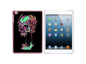 Stretched Colorful Feathery Skull Snap On Hard Protective Case for Apple iPad Mini - Pink