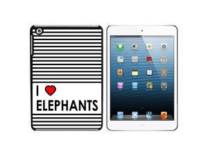 I Love Heart Elephants Snap On Hard Protective Case for Apple iPad Mini - Black