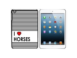 I Love Heart Horses Snap On Hard Protective Case for Apple iPad Mini - Black