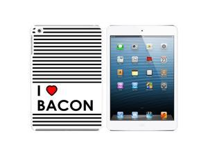 I Love Heart Bacon Snap On Hard Protective Case for Apple iPad Mini - White