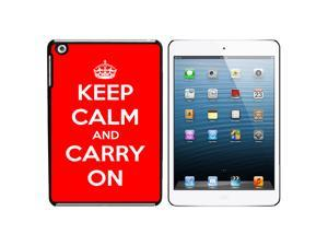 Keep Calm and Carry On Red Snap On Hard Protective Case for Apple iPad Mini - Black