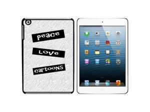 Peace Love Cartoons Snap On Hard Protective Case for Apple iPad Mini - Black