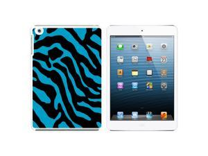 Zebra Print Blue Snap On Hard Protective Case for Apple iPad Mini - White