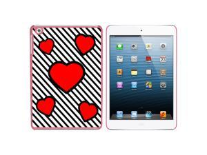 Love Cute Hearts Red Black Stripes Snap On Hard Protective Case for Apple iPad Mini - Pink