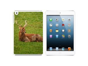 Male Deer On Grass Snap On Hard Protective Case for Apple iPad Mini - White