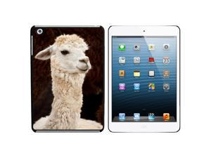 White Llama Snap On Hard Protective Case for Apple iPad Mini - Black