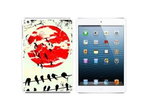 Black Birds on a Wire Under Red Sun Moon Snap On Hard Protective Case for Apple iPad Mini - White