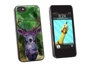 Deer Watercolor Green - Hunting - Snap On Hard Protective Case for Apple iPhone 5 - Black