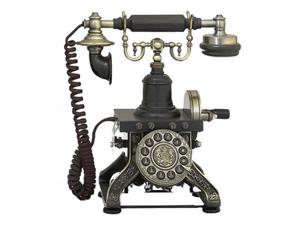 Antique Reproduction Aristocrat Brass Cradle Push Button Telephone
