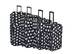 Overland Travelware 4-piece Luggage Set - Black Polka Dot