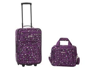 Rockland Rio Upright Carry-On & Tote 2-Piece Luggage Set - Purple Leopard