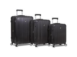 Dejuno Atlas 3-Piece Hardside Spinner TSA Combination Lock Luggage Set - Black