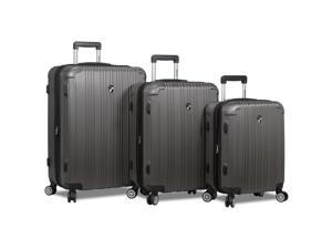 Dejuno Atlas 3-Piece Hardside Spinner TSA Combination Lock Luggage Set -Charcoal