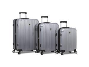 Dejuno Atlas 3-Piece Hardside Spinner TSA Combination Lock Luggage Set - Silver