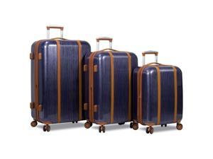 Dejuno Monroe 3-Piece Hardside Spinner TSA Combination Lock Luggage Set - Blue