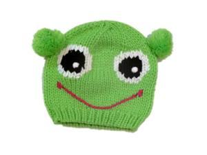 Arizona Girls Green Frog Hat Knit Beanie With Poms Stocking Cap