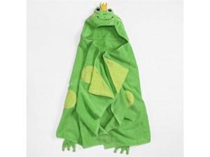 Peanut & Ollie Hooded Green Frog Bath Towel Child Size 100% Cotton Toad