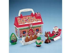 Fisher Price Little People On The Go Christmas Shop Playset Santa & Reindeer