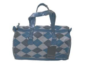"Reebok 15"" Gym Duffel Bag Blue Argyle Travel Pack Sports Duffle Luggage Tote"