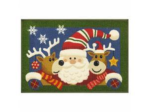 St Nicholas Square Santa & Reindeer Accent Throw Rug No Skid Christmas Mat 20x30