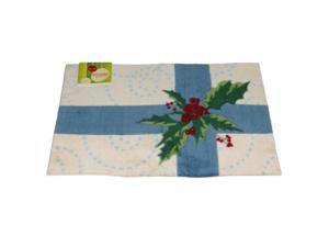 Holiday Door Mat Blue Bow & Holly Plush Throw Accent Rug