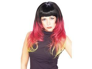 Womens Long Multi-Colored Sunburst Wig black red blonde