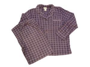 Soft Sensations Womens Purple Checkers Fleece Pajamas PJs Set Sleep Pants Set