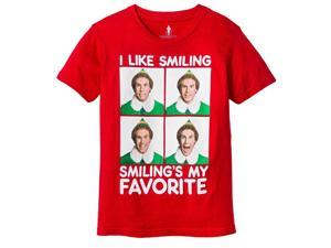 Elf Movie Boys Red Smiling's My Favorite Christmas Holiday T-Shirt M