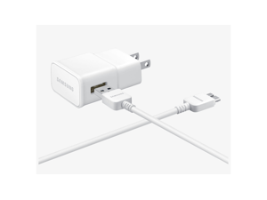 Samsung 21-Pin USB Travel Charger for Samsung Galaxy S5, Note 3 with Detachable Cable - White