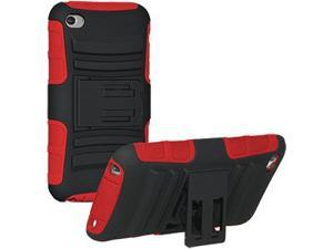 Amzer Hybrid Kickstand Case - Black/ Red For iPod Touch 4th Gen