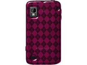 Amzer Luxe Argyle High Gloss TPU Soft Gel Skin Case - Hot Pink For ZTE Warp