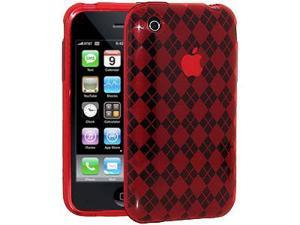 Amzer Luxe Argyle Skin Case - Red For iPhone 3G,iPhone 3G S