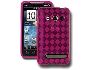 Amzer Luxe Argyle Skin Case - Hot Pink For HTC EVO 4G