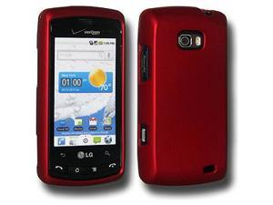 Amzer Rubberized Red Snap On Crystal Hard Case For LG Ally VS740