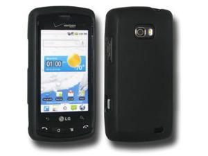 Amzer Rubberized Black Snap On Crystal Hard Case For LG Ally VS740