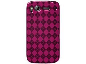 Amzer Luxe Argyle High Gloss TPU Soft Gel Skin Case - Hot Pink For HTC Desire S