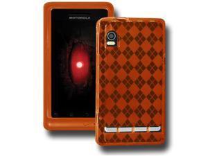 Amzer Luxe Argyle High Gloss TPU Soft Gel Skin Case - Orange For Motorola Droid 2 A955